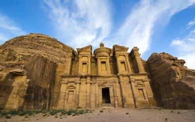 The Treasury of Petra under a blue sky