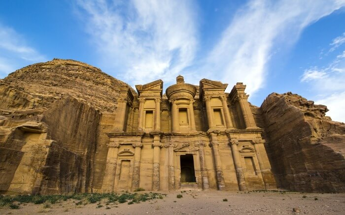 The Treasury of Petra under a blue sky