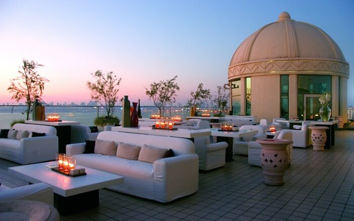 The elegant rooftop dining area of Dome International in Churchgate in Mumbai