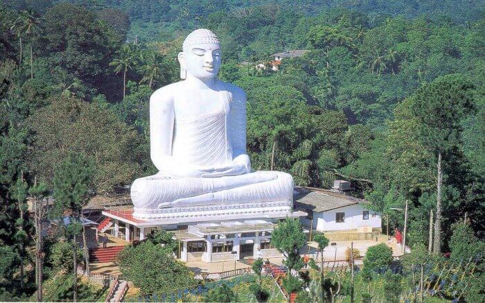 The majestic statue of Lord Buddha at Bahirawakanda Temple in Kandy