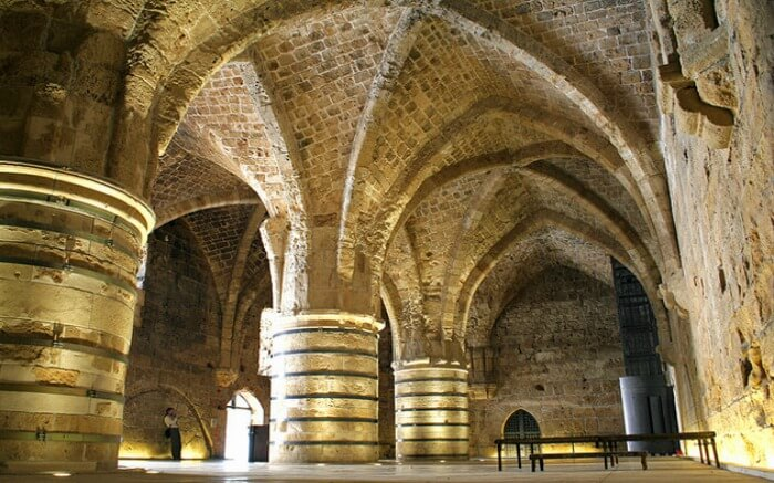 The view of interiors of St John's Crypt in Acre in Israel