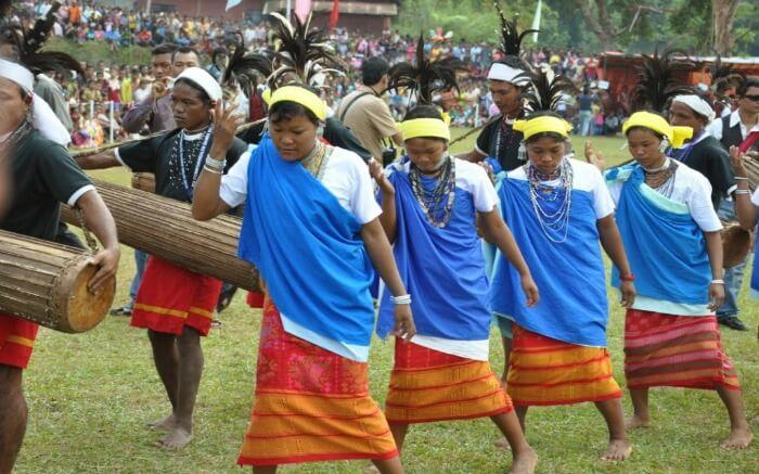 Women of Meghalaya dancing during Wangala festival