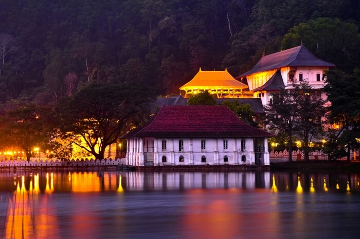 A view of Tooth Relic Temple by the Kandy Lake in Sri Lanka