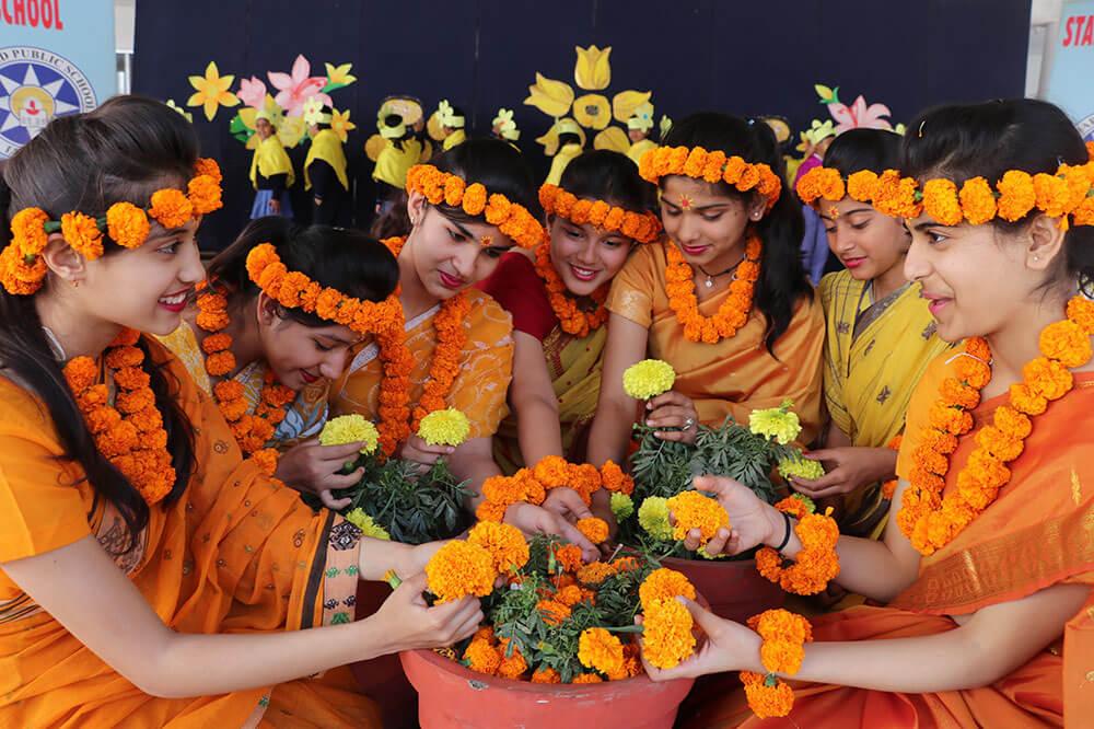 School kids celebrating Basant Panchami
