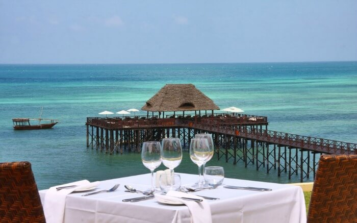 breakfast table overlooking the vast Indian Ocean
