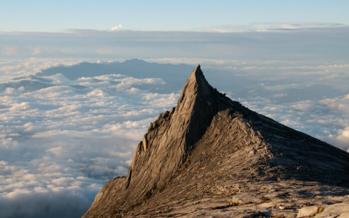 cloudy view from Mount Kinabalu in Malaysia
