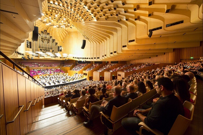 A snap of the audience and performers at the Sydney Opera House in Australia
