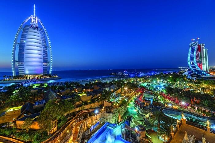 A panoramic night shot of the Wild Wadi Waterpark in Dubai