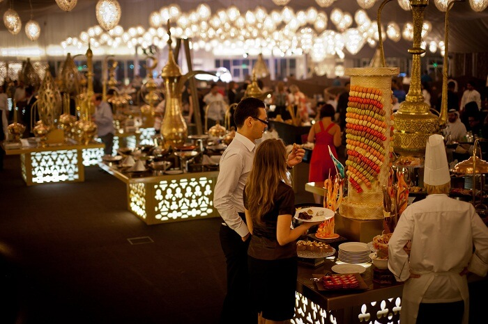 Guests enjoy the Arabian hospitality at Asateer Ramadan Tent at The Atlantis Palm in Dubai