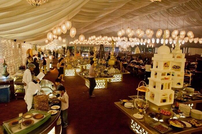 Guests enjoying the Arabian hospitality at Asateer Ramadan Tent at The Atlantis Palm in Dubai
