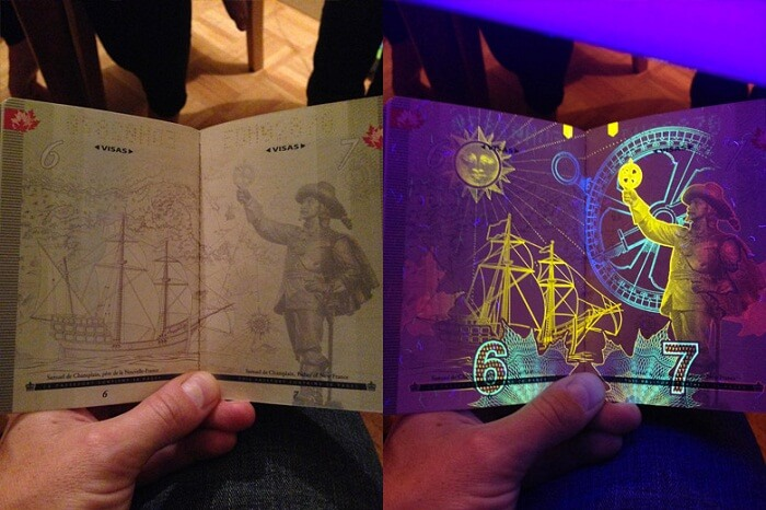 The passport of Canada when viewed under UV light