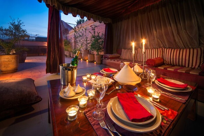 A rooftop dining facility at the romantic Dar Hani restaurant in Marrakech