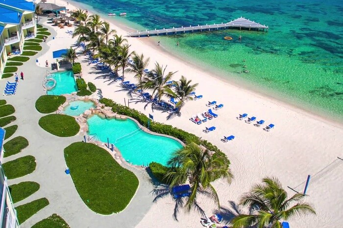 An aerial shot of the Wyndham Reef Resort on Grand Cayman Island