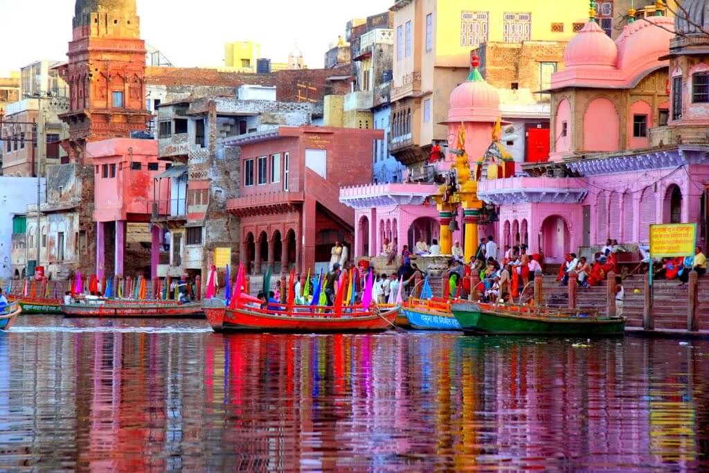the colorful Vishram Ghat of Mathura