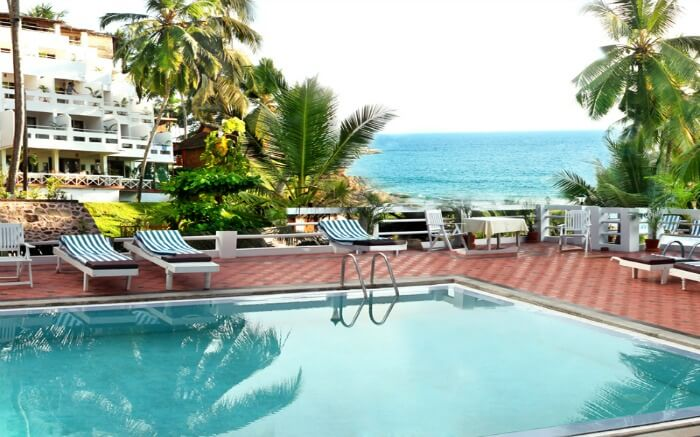 outdoor pool with sea view in Soma Palmshore Beach Resort