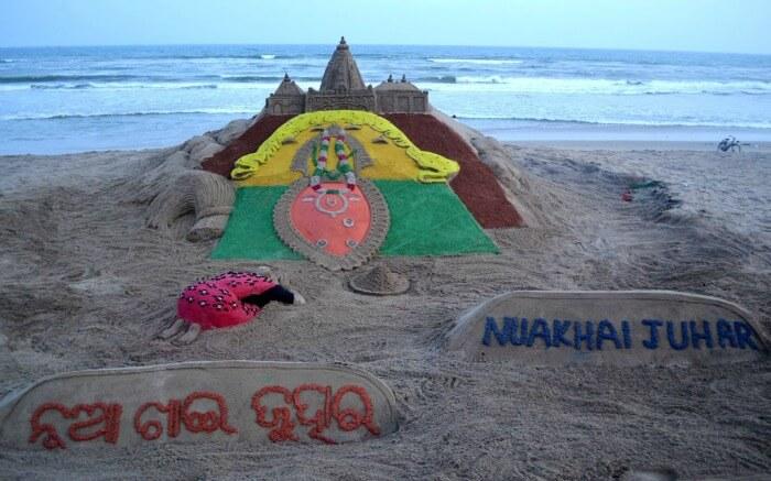 sand art promoting Nuakhai festival