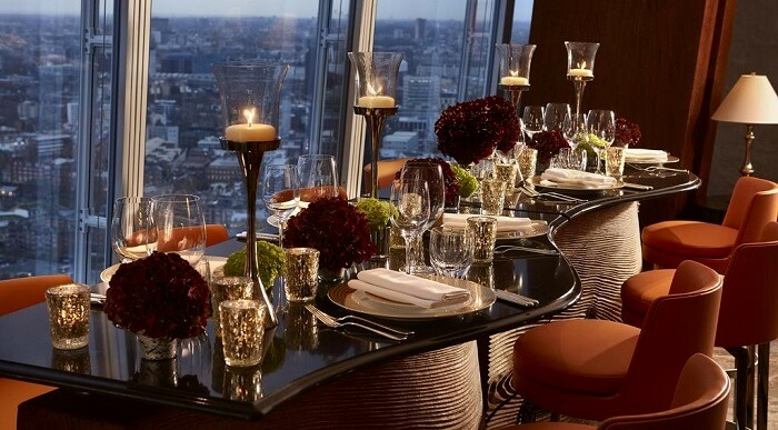 romantic restaurants shangri la london