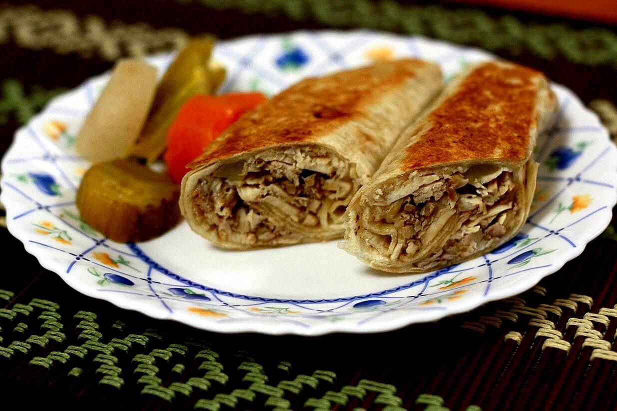 shawarma roll in a street stall in Amman