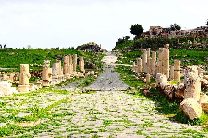 The pathway to Umm Qais in the green Gadara City of Jordan