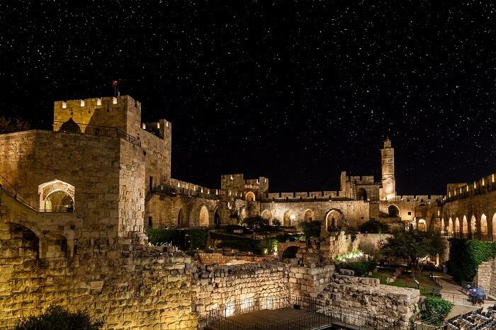 A shot Jerusalem town at night in Israel
