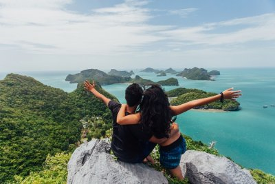 A couple at the Ang Thong viewpoint in Koh Samui in Thailand