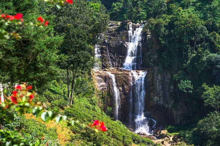 The the famous falls of the Ramboda Valley in Sri Lanka