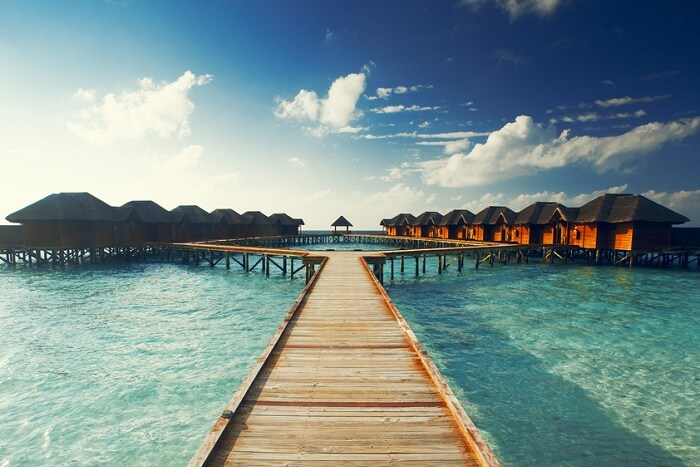 A snap of the multiple overwater properties at the Sun Island Resort on the Nalaguraidhoo Island of Maldives