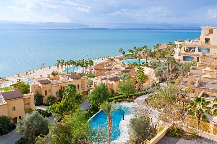 An aerial shot of the Kempinski Ishtar hotel in Dead Sea region of Jordan