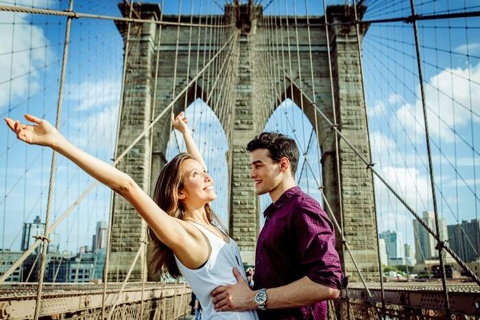 romantic couple honeymooning in America