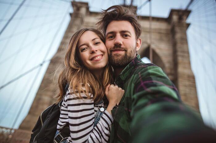 couple honeymooning in America