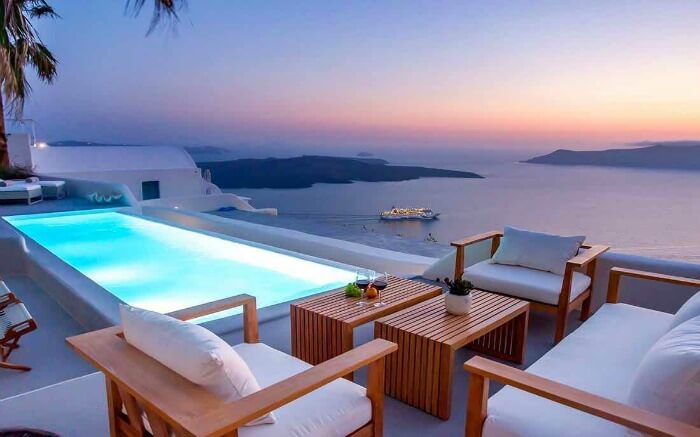 terrace pool at Grace Santorini Villa overlooking the volcanic landscapes