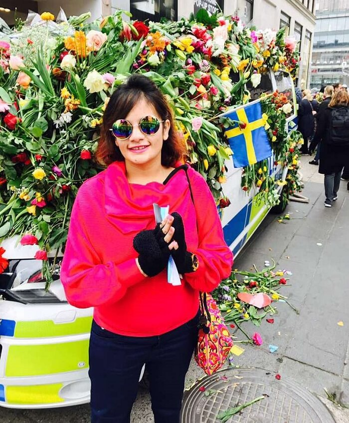 female traveler in Sweden