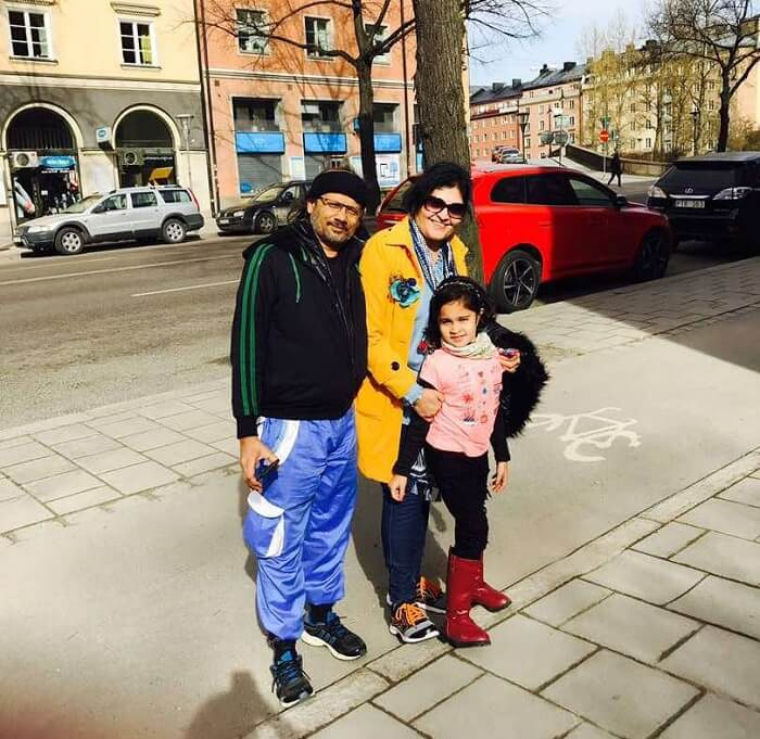 family traveling to Sweden