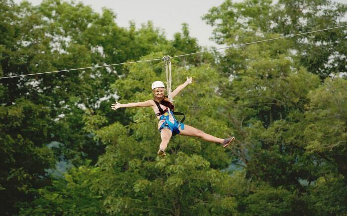 A girl ziplining
