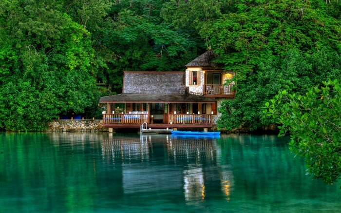 A romantic resort in Jamaica in the middle of water