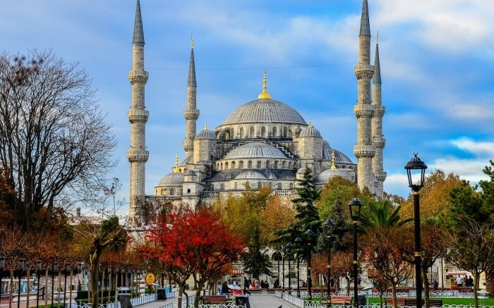 A view of Sultan Ahmed Mosque in Istanbul in Turkey in autumn