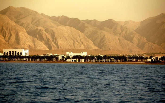 A view of the Chedi in Muscat in Oman by the Gulf of Oman