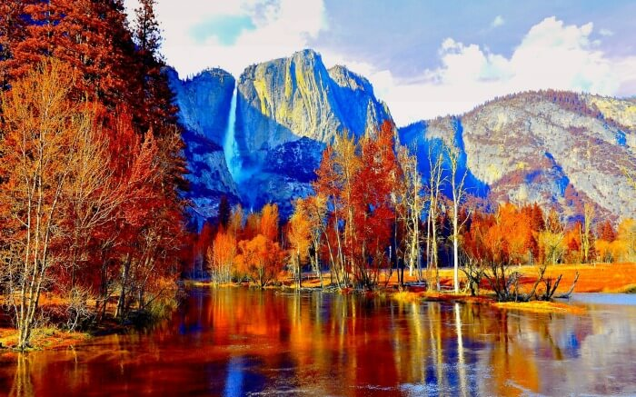 AUTUMN YOSMITE Yosemite National Park Lake Falls Mountain Full HD Wallpaper