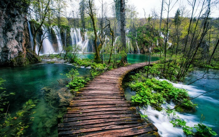 A walkway in Plitvice