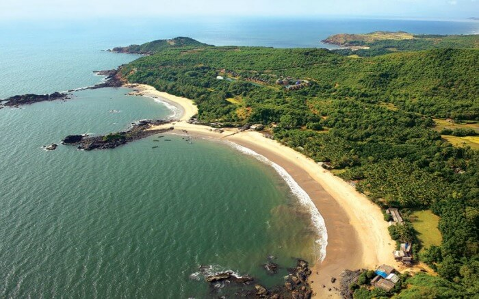 Aerial view of a beach in Gokarna