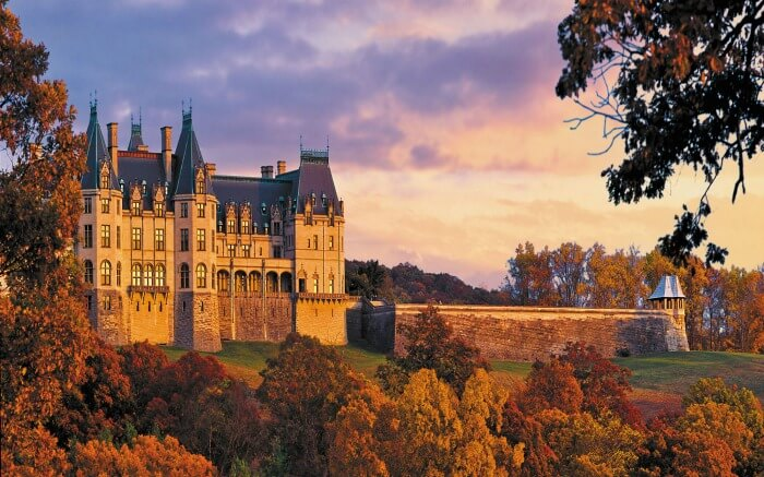 Autumn view of Biltmore Estate in North Carolina