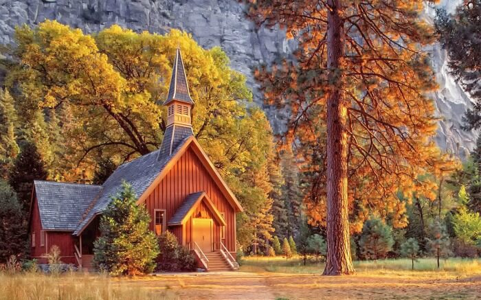Autumn view of a cottage in Yosemite National Park