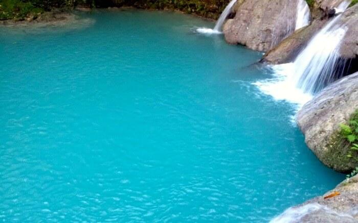 Blue water of Blue Hole in Jamaica