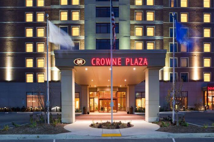 entrance of Crowne Plaza hotel