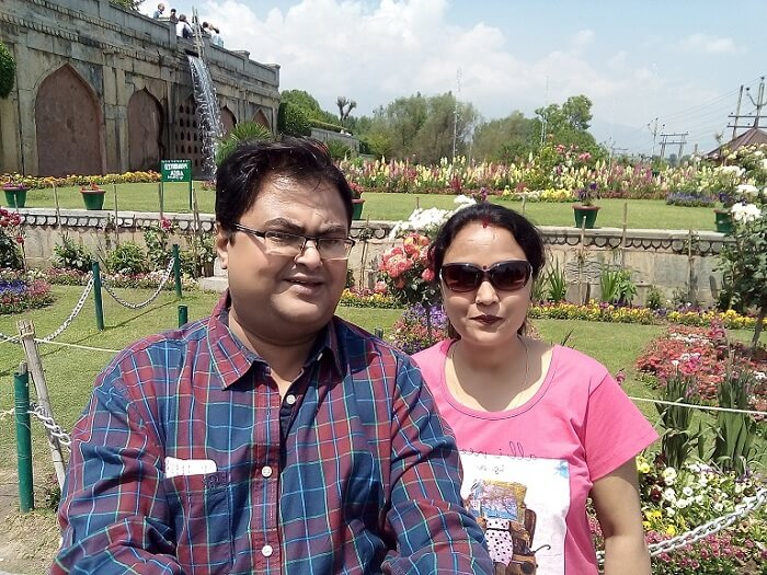 rakesh and his wife visit the gardens in srinagar