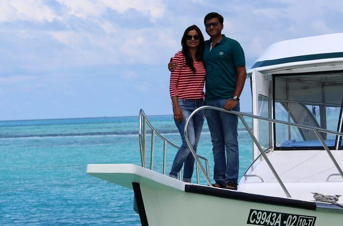 couple chilling in maldives
