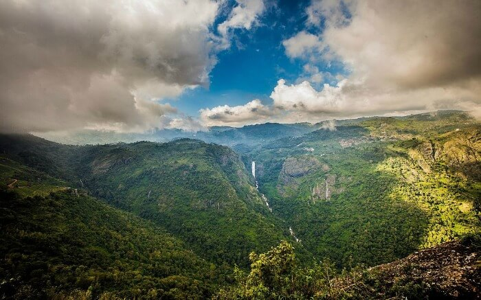 Gorgeous Catherine Falls in the mountains covered by clouds