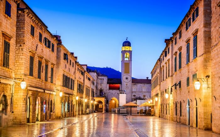 Lit up streets of Dubrovnik