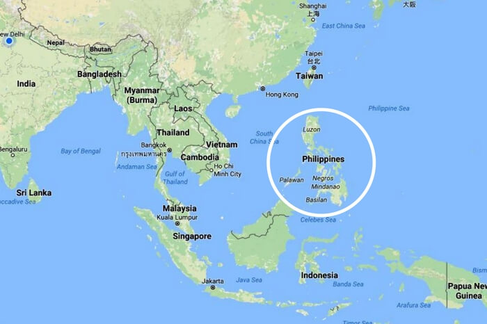 Philippines located in Southeast Asia encircled in white