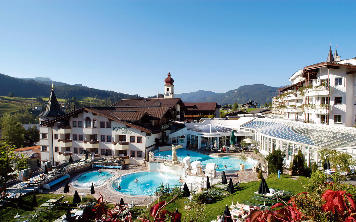 A beautiful hotel in Austria with outdoor swimming pool